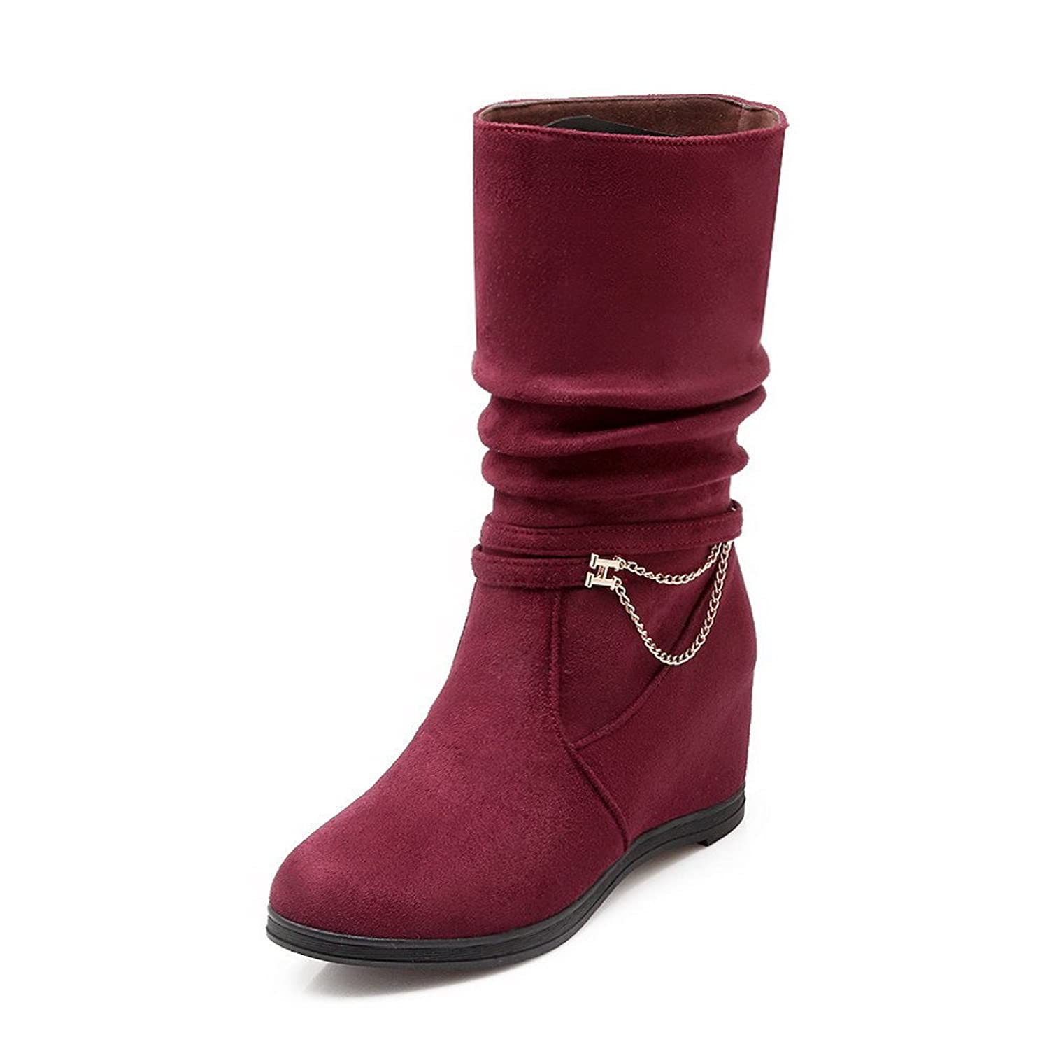 VogueZone009 Women's High Heels Frosted Solid Pull On Round Closed Toe Boots