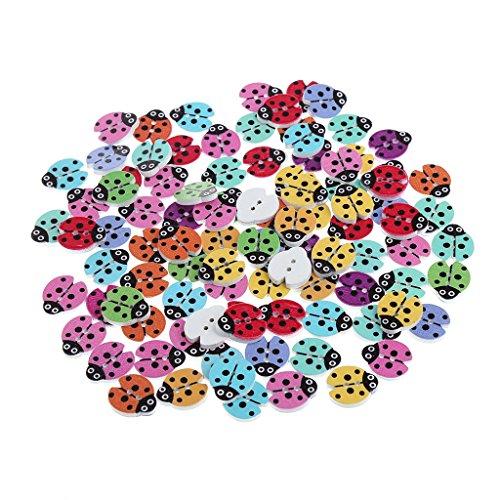Doober 100Pcs Wood Ladybug Handmade 2 Holes Wooden Buttons Sewing Scrapbooking DIY