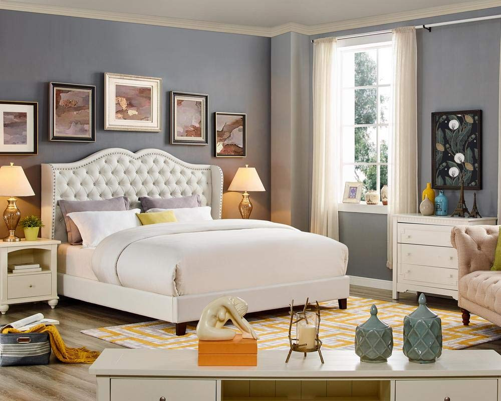 LILOLA Parker White Leatherette California King Bed by Lilola Home