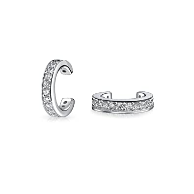 7749c570f Amazon.com: Minimalist Cubic Zirconia Pave CZ Band Cartilage Ear Cuffs Clip  Wrap Helix Earrings For Women 925 Sterling Silver: Jewelry