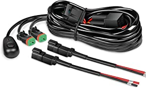 Nilight 16AWG DT Connector Wiring Harness Kit LED Light Bar 12V On Off Switch Power Relay Blade Fuse for Off Road Lights LED Work Light-2 Leads,2 Years Warranty