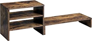 SONGMICS Monitor Stand Riser, Separate Desktop Organizer with Shelves, File Organizer with Storage, for Computer, Folders, Office Accessories, 33 x 7.8 Inches, Rustic Brown ULLD102BY