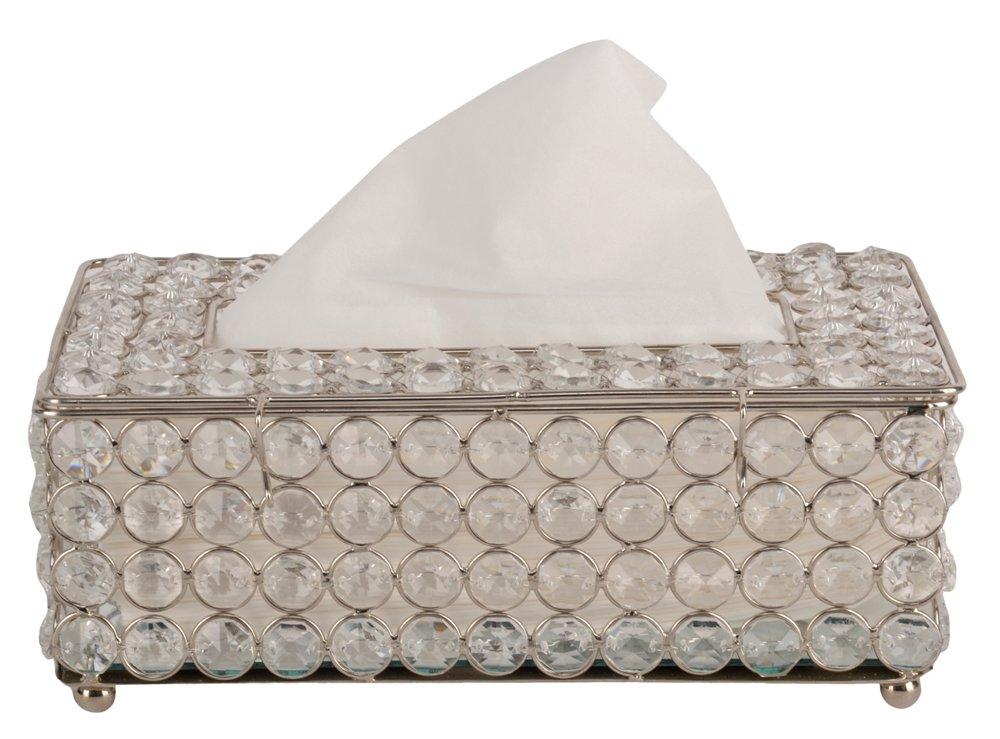 Marigold Stores Stunning Clear Glass Crystal Beads Tissue Box Holder/Car Tissue Box/Tissue Dispenser/Tissue Paper Box Designer Decorative Beautiful - BY