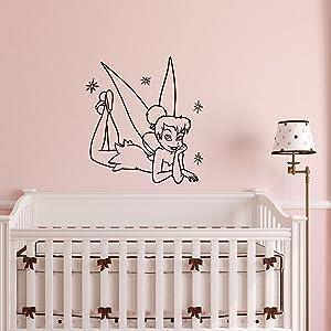 Little Princess Wall Decal Tinkerbell Fairy Girl Peter Pan Wall Decals Vinyl Stickers Baby Nursery Kids Room Girls Bedroom Wall Art Home Decor Q064