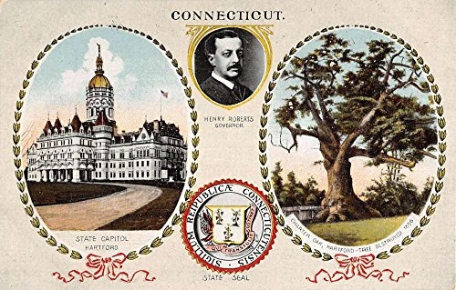 Connecticut Roberts Governor Capitol Seal Multiview Antique Postcard ()