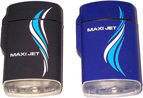 Zenga Maxi Jet Briquet temp/ête en caoutchouc /Électronique Gaz Rechargeable Transparent bleu