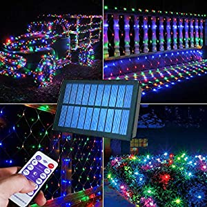 Abkshine 180 LEDs Solar Christmas Net Lights 10Ft x 4.9Ft, 8 Modes Multicolored Solar Christmas Lights Outdoor, Solar…