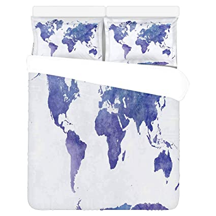 Amazon.com: INTERESTPRINT Watercolor World Map Bedding Duvet ...