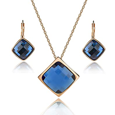 EVEVIC Square Austrian Crystal Necklace Earrings Set for Women Girls 18K  Gold Plated Jewelry Set ( eaad9b4f0523