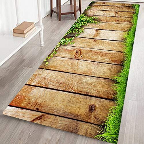 Qianren Home Area Rug Door Mat Gloor Mat for Living Room Bathroom Decoration Carpet Anti-Slip - 40 x 120 cm, Wood Floor]()