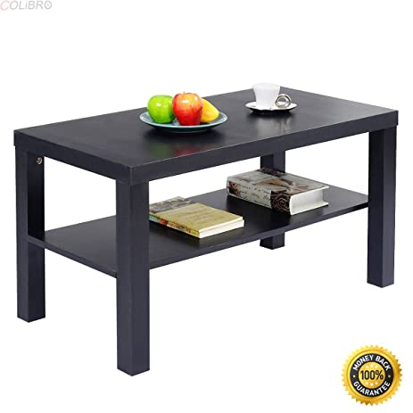 COLIBROX--Coffee End Table Rectangle Modern Living Room Furniture w/ Storage Shelf Black  sc 1 st  Amazon.com & Amazon.com: COLIBROX--Coffee End Table Rectangle Modern Living Room ...