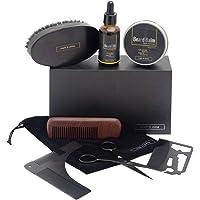 Mark & Stone Beard Grooming Kit | 8pcs | Beard Balm, Beard Oil, Beard Brush, Beard Comb, Stainless Steel Trimming Scissors, Beard Shaper, Pouch and Multifunctional Beard Utility | Beard Care Gift Set