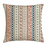 Queen Area Tribal Mexican Style Aztec Patterned Retro Hand Drawn Design Abstract Square Throw Pillow Covers Cushion Case Sofa Bedroom Car 18x18 Inch, Blue Orange ivory