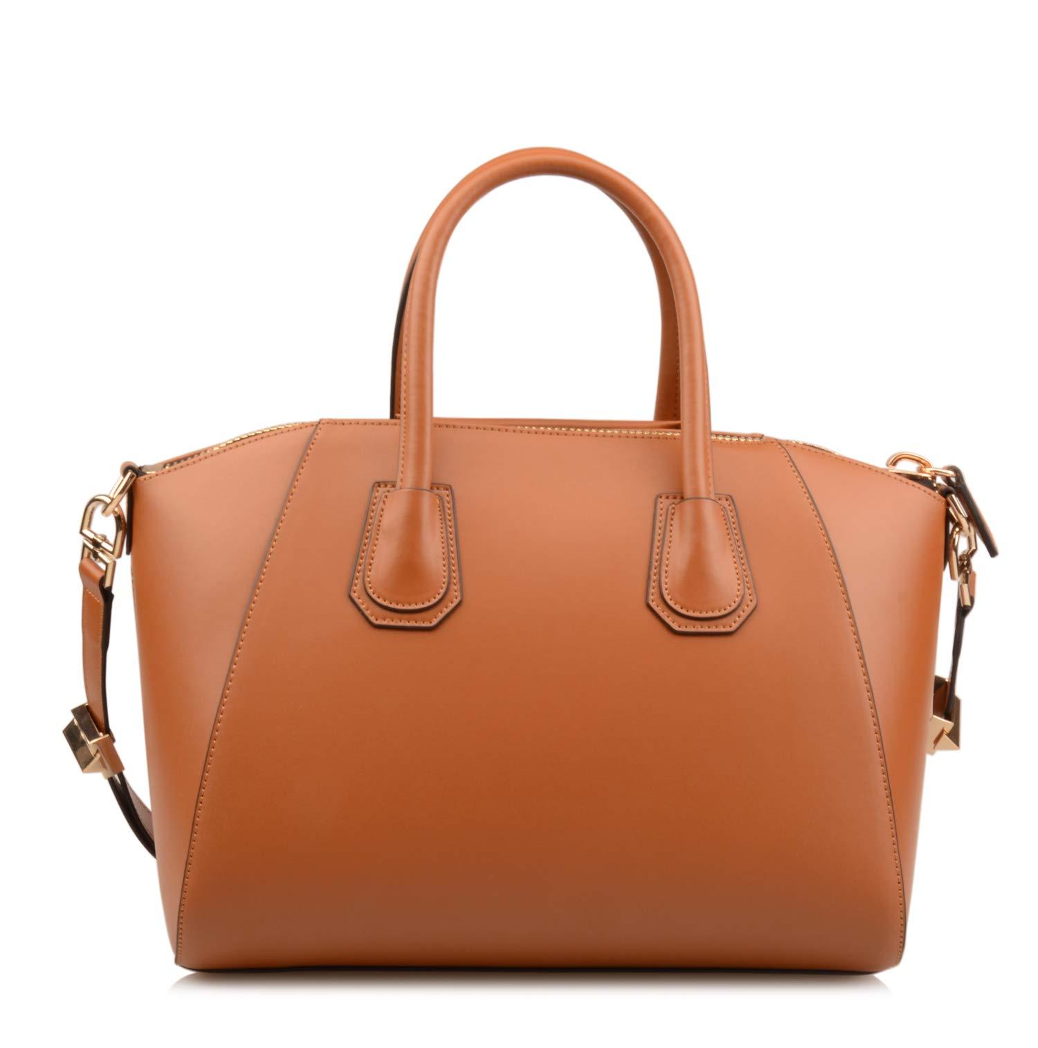 Ainifeel Women's Genuine Leather Simple Everyday Purse Top Handle Handbag Shoulder Handbags(Medium, Brown) by Ainifeel (Image #5)