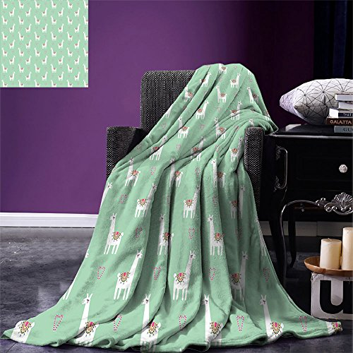 smallbeefly Llama Throw Blanket Cute llama with Candy Cane Hearts Fun Pattern on Mint Green Background Warm Microfiber All Season Blanket for Bed or Couch Mint Green Multicolor -