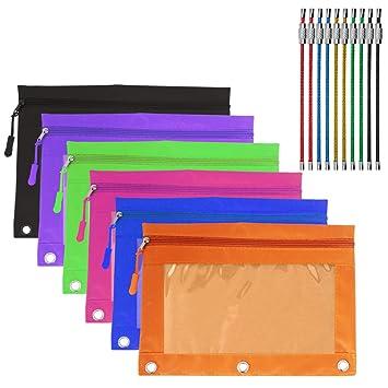 YuCool - Lote de 6 estuches con cremallera, 3 orificios reforzados para lápices con ventana de PVC transparente, 10 llaveros de alambre (multicolor)