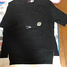 Amazon フォセース Fosys Tシャツ 半袖 カットソー メンズ ゆったり おしゃれ 薄手 涼しい カジュアル オールシーズン ネックレス付 M ブラック Tシャツ カットソー 通販