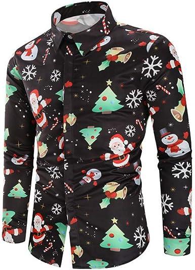Camisetas Hombre Manga Larga Camisetas Camiseta Navideña para Hombres Camisas con Botones Camisa De Navidad con Estampado De Alces De Muñeco De Nieve De Santa Claus Camisa FEA De Navidad BuyO: Amazon.es:
