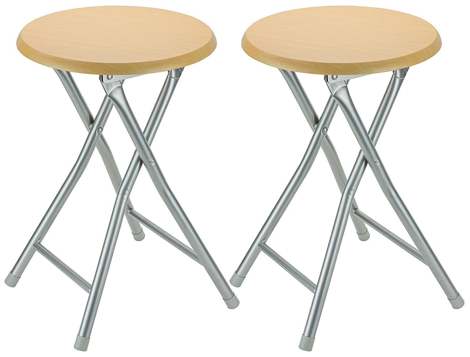 DecorRack Wooden Seat Folding Stool, 18 inch Portable Lightweight Foldable Chair, Collapsible Sitting Stool with Wooden Seating Top, Beige Oak Design (2 Pack) by DecorRack