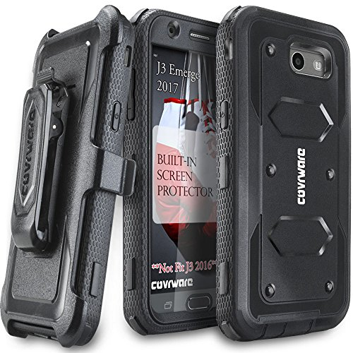 Samsung Galaxy J3 Emerge/J3 Prime/J3 Eclipse/Express Prime 2/Luna Pro/Amp Prime 2/Sol 2 Case, COVRWARE [Aegis Series] Built-in [Screen Protector] Heavy Duty Rugged Holster [Belt Clip][Kickstand] Black