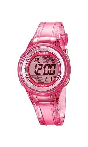 Calypso - Reloj Digital de Mujer con Esfera Rosa Pantalla Digital y Rosa Correa de plástico K5688/2: Amazon.es: Relojes