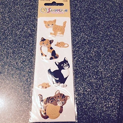Sandylion PUFFY FUZZY Stickers CATS ADHESIVES New & Sealed CATS NEW supplier:stickblue -