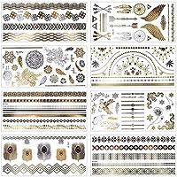 MelodySusie Temporäre Klebe-Tattoos Körper Tattoos mit 100+ Motiven, Metallic Flash tattoos in Silber & Gold, 8 Blätter (Metallic)