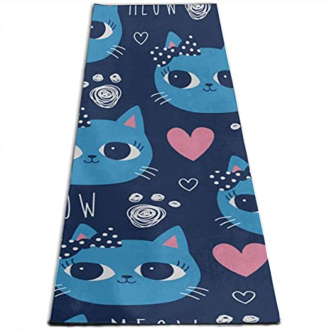 Amazon.com : CHQTG Small Exercise Mat Cat Dark Blue ...
