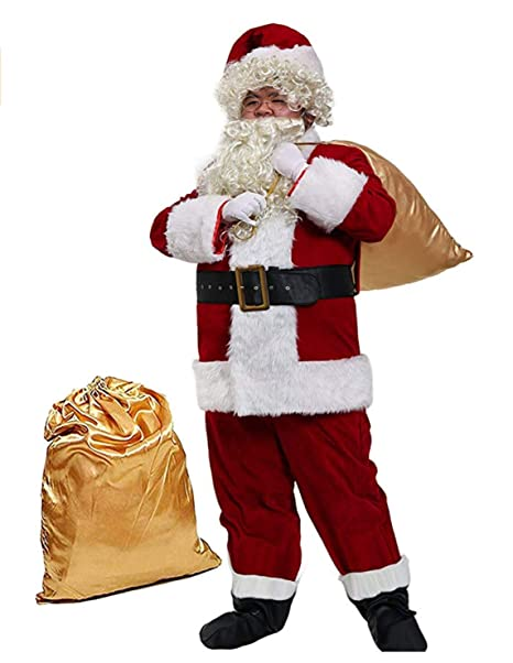 Amazon.com: Xarmons Mens Deluxe Santa Suit 10pc. Christmas ...