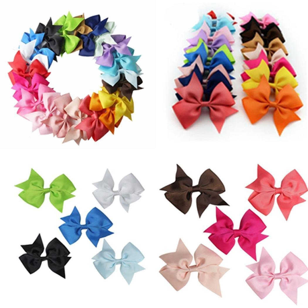 Zronji 20 Colors New Alligator Clips Girls Bow Ribbon Kids Sides Accessories Hair Clip