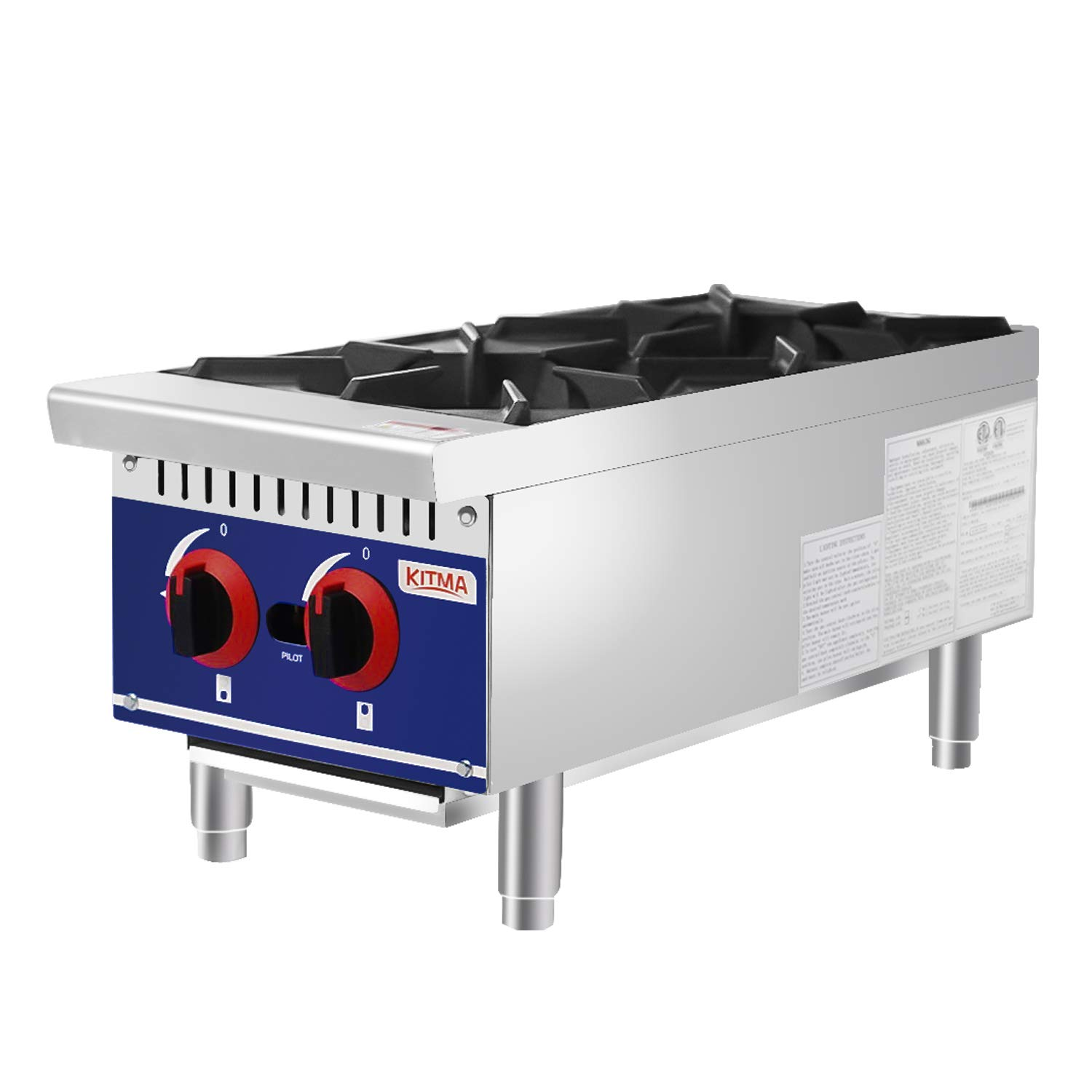 Commercial Countertop Hot Plate - KITMA 12 Inches 2 Burner Natural Gas Range - Restaurant Equipment for Soups, Sauces