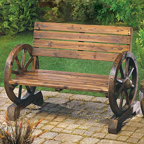 Rustic Wood Wagon Wheel Home Garden Furniture Bench Decor