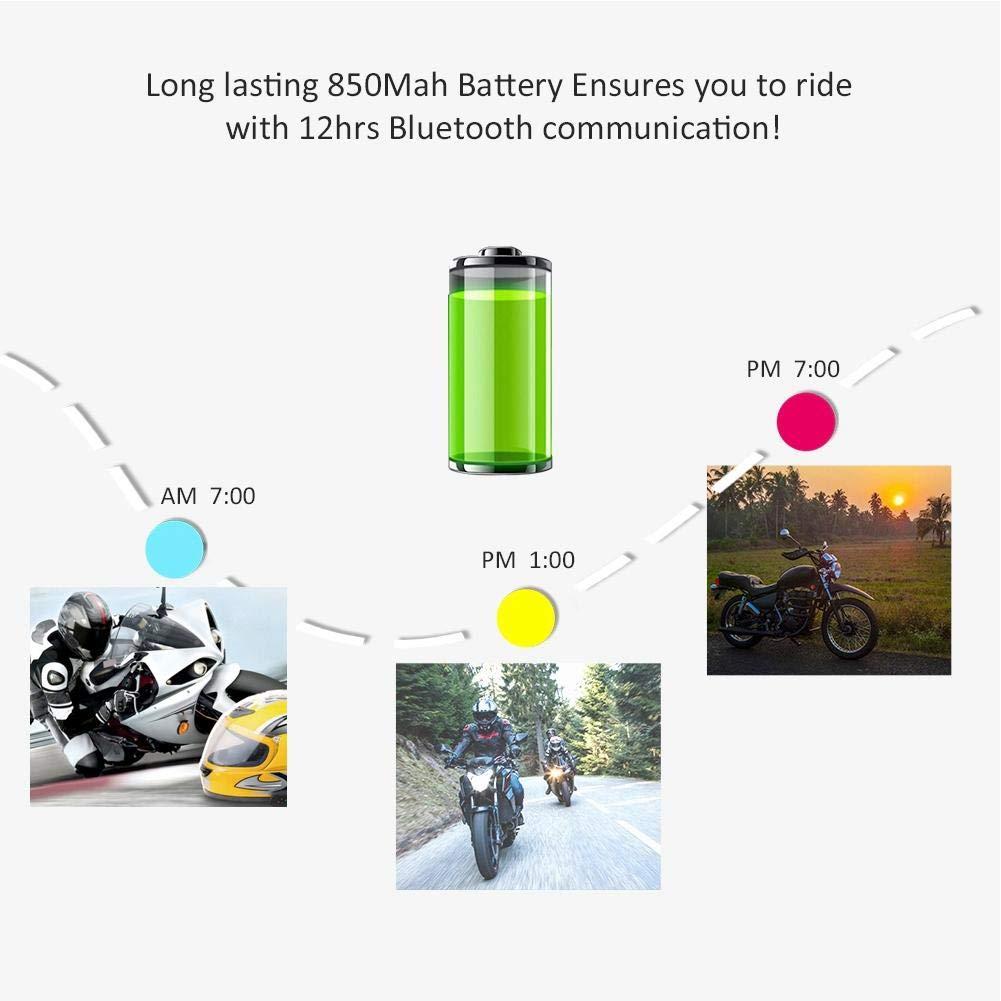 Interphone 2Pcs V6-1200 Moto Bluetooth Interphone Full-duplex 1200M 6 Riders IP65 Intercom Headset