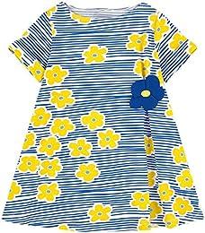Girls Casual Cotton Short-Sleeved Cute Cartoon T-Shirt Dress