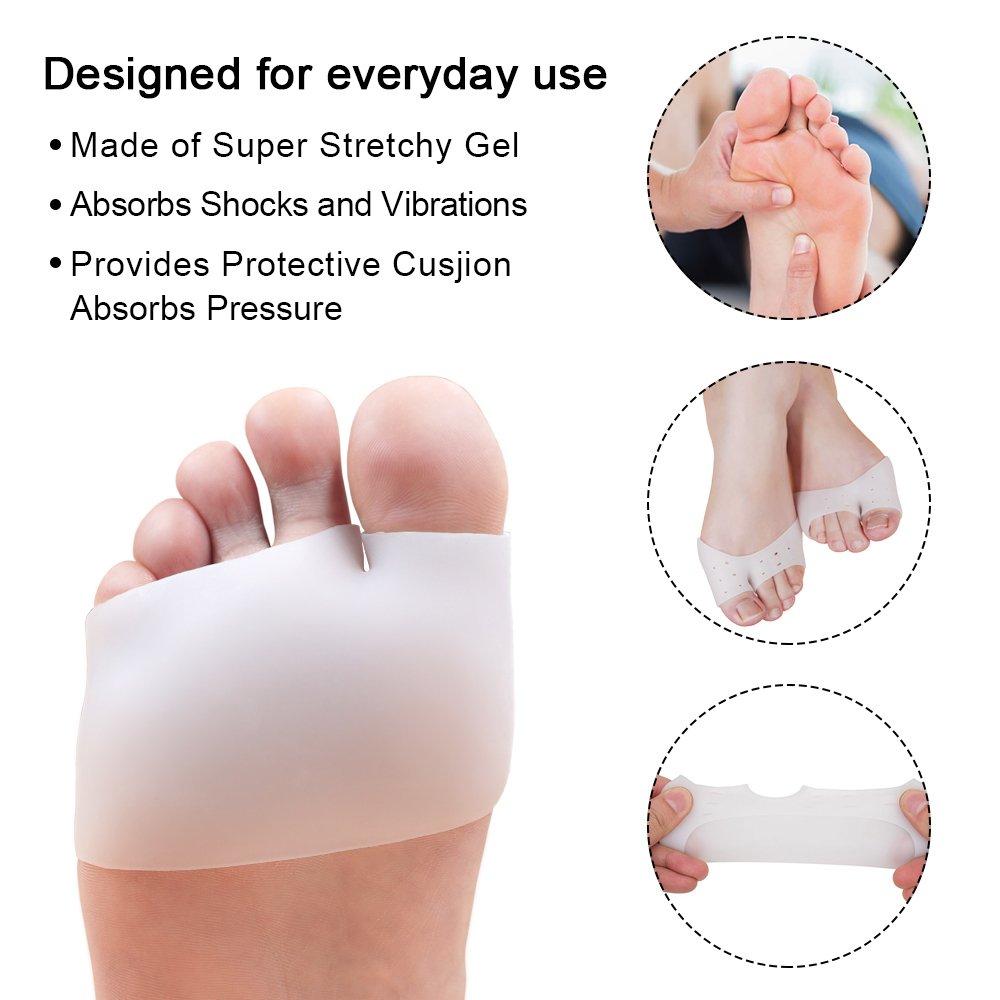 Dr. Foot's High Heel Pads - Gel Ball of foot Cushions, Metatarsal Pads, Back Heel Shoe Inserts, Heel Snugs, Forefoot and Heel Pain Relief Pad 4 Pairs (Beige)