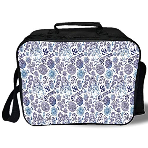 (Insulated Lunch Bag,Yoga,Ornamental Mandala Floral Arrangement Paisleys East Asian Culture Motifs,Dark Purple Blue White,for Work/School/Picnic, Grey)