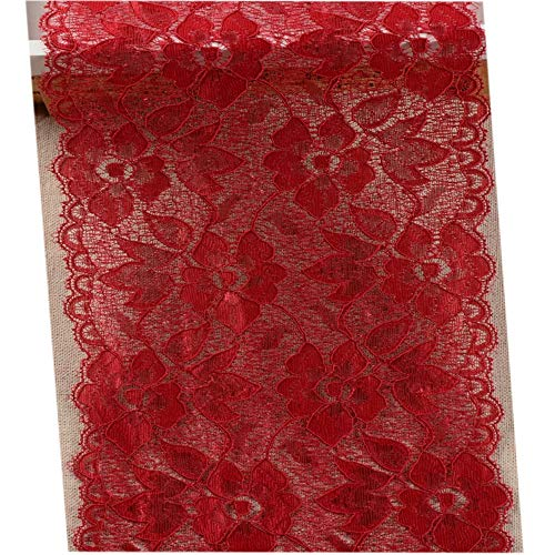 6.2 Inch Stretch Lace Trims Floral Embroidered Elastic Fabric for Garment and DIY Craft Supply by 5 Yards (Wine Red)