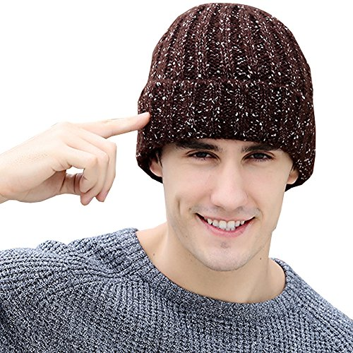 KINDOYO Wireless Bluetooth Headset Music Hat Unisex Women Men Winter Knitted Hat with Stereo Speaker Headphones & Microphone for Running Sports Answer calls, listen to music (Brown) Bobble Headset
