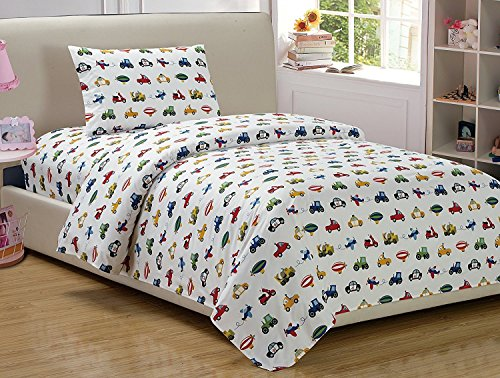 Fancy Collection 3pc Twin Sheet Set, Duvet Set Trucks Tractors Cars Light Blue Dark Blue Red Yellow Black White New