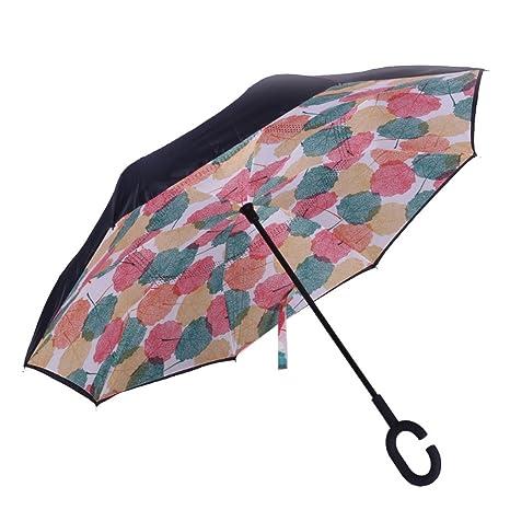 Fench - Paraguas Plegable de Doble Capa con Mango en C ...