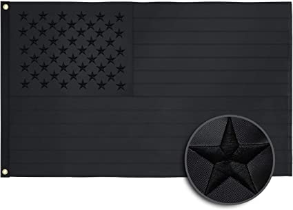 3x5FT All Black American Flag Embroidered USA Blackout Tactical US Black Flag