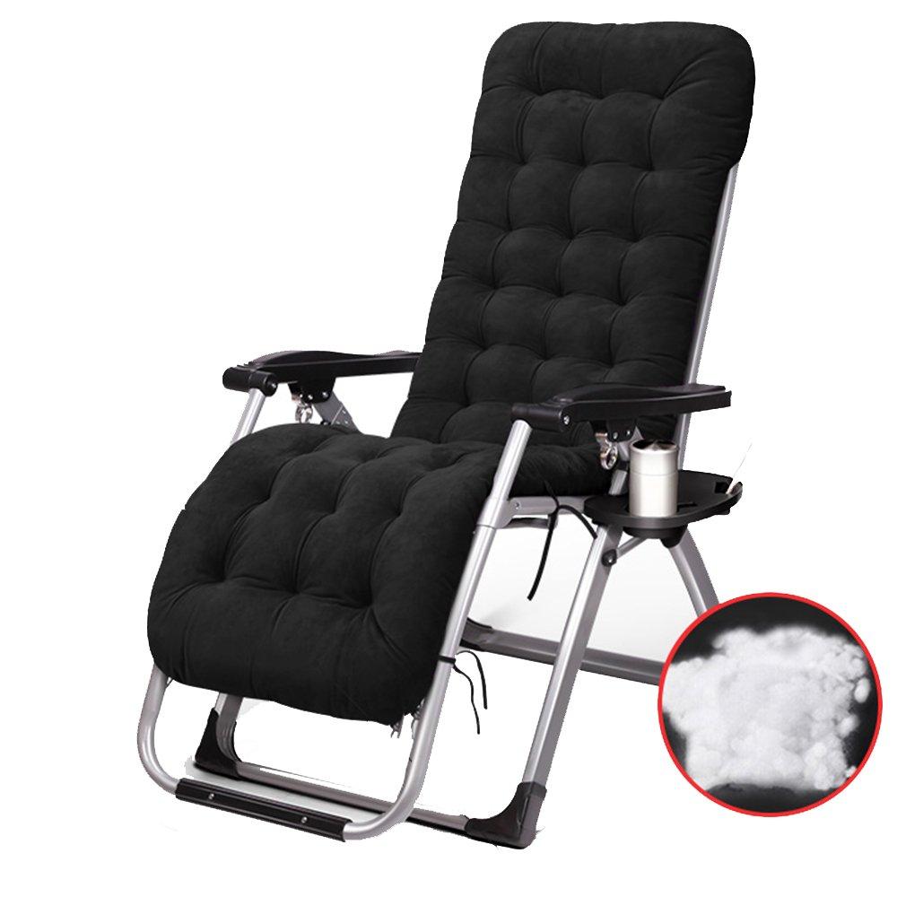 XXHDYR Liegestuhl Multifunktions-Klappstuhl Siesta Bett Stuhl Mittagspause Stuhl Hause Freizeit Sessel Klappstuhl (Farbe : SCHWARZ)
