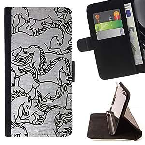 Momo Phone Case / Flip Funda de Cuero Case Cover - Sketch Black White Art - Samsung Galaxy J3 GSM-J300