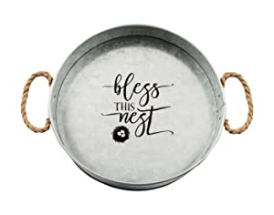 Brownlow Gifts Bless This Nest Medium Galvanized Metal Serving Tray