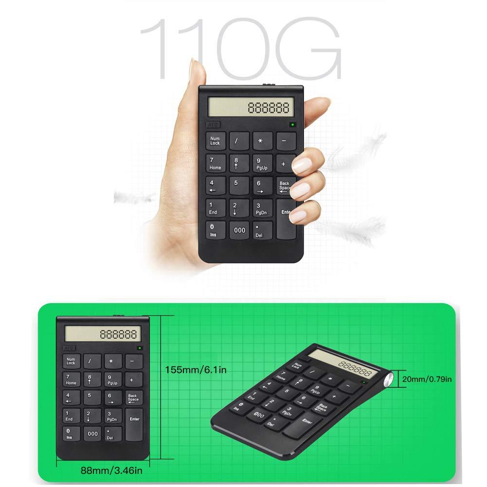 Teclado USB 2.4G Pantalla Digital Teclado Num/érico Inteligente Inal/ámbrico Recargable