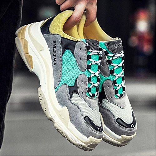 Hombres Corriendo Entrenadores Para caminar Respirable Choque Absorbente Grueso Fondo Zapatos Atlético Zapatillas Casual Deportes Al aire libre Yellow