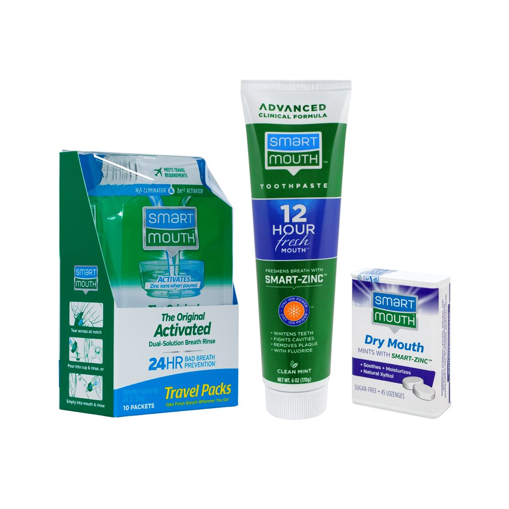 SmartMouth Original Activated Oral Rinse Travel Packs, Dry Mouth Mints and Premium Toothpaste for 24 Hour Bad Breath Prevention