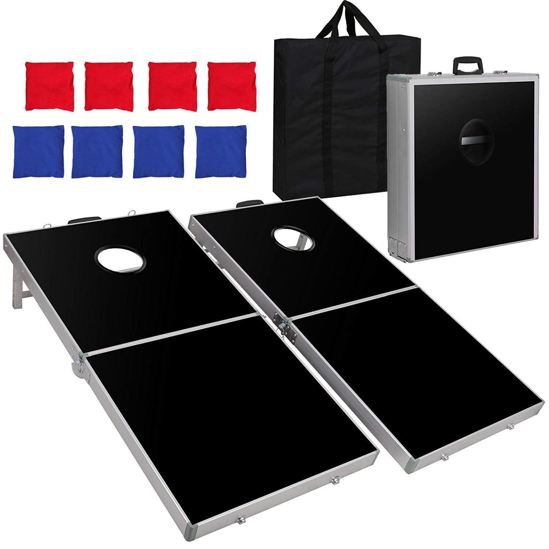 f2 Cポータブル折りたたみ式アルミフレーム付きBeanバッグCornhole Toss Game Set Boards with 8 Beanバッグと携帯ケース B07HMNG7T1  4FT2FT Black Aluminum Frame