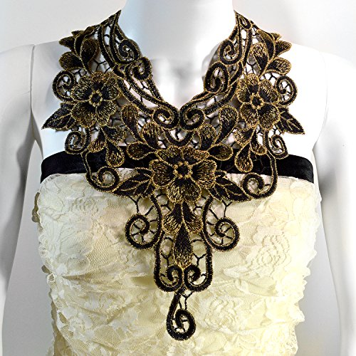 Regal Lace Statement Necklace in Black and Gold Large Bib Victorian Jewelry (Regal Vampira Girl Costume)