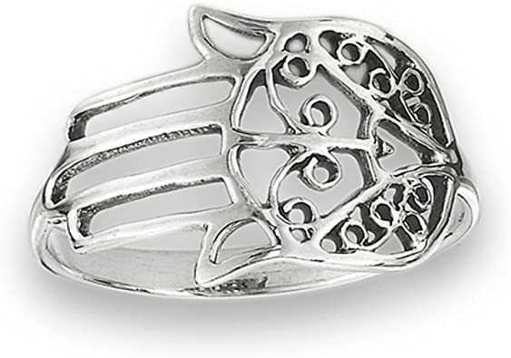 CloseoutWarehouse Sterling Silver Hand of Fatima Pendant